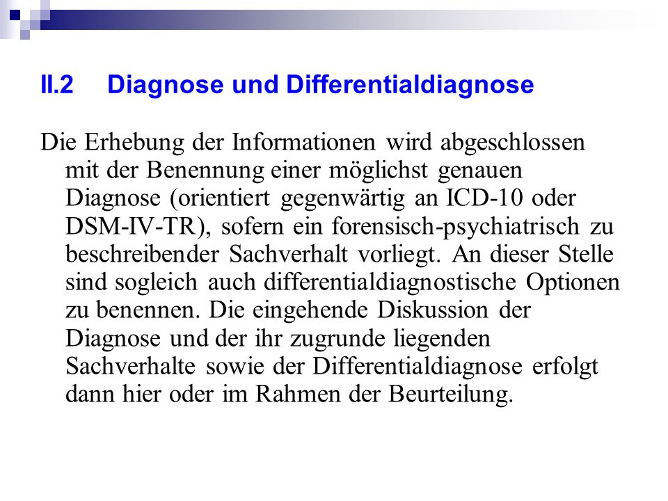II.2 Diagnose und Differentialdiagnose