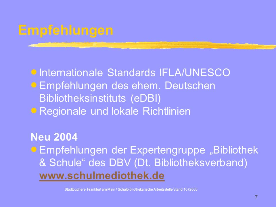 Empfehlungen Internationale Standards IFLA/UNESCO