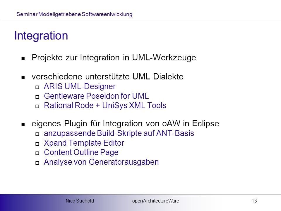 Integration Projekte zur Integration in UML-Werkzeuge