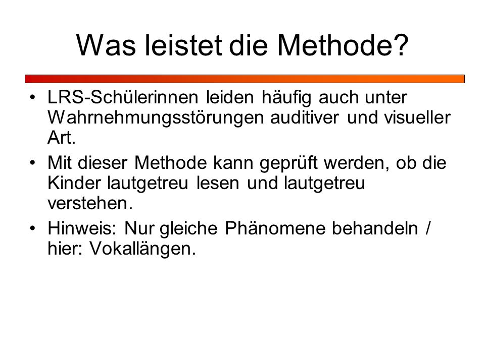 Was leistet die Methode