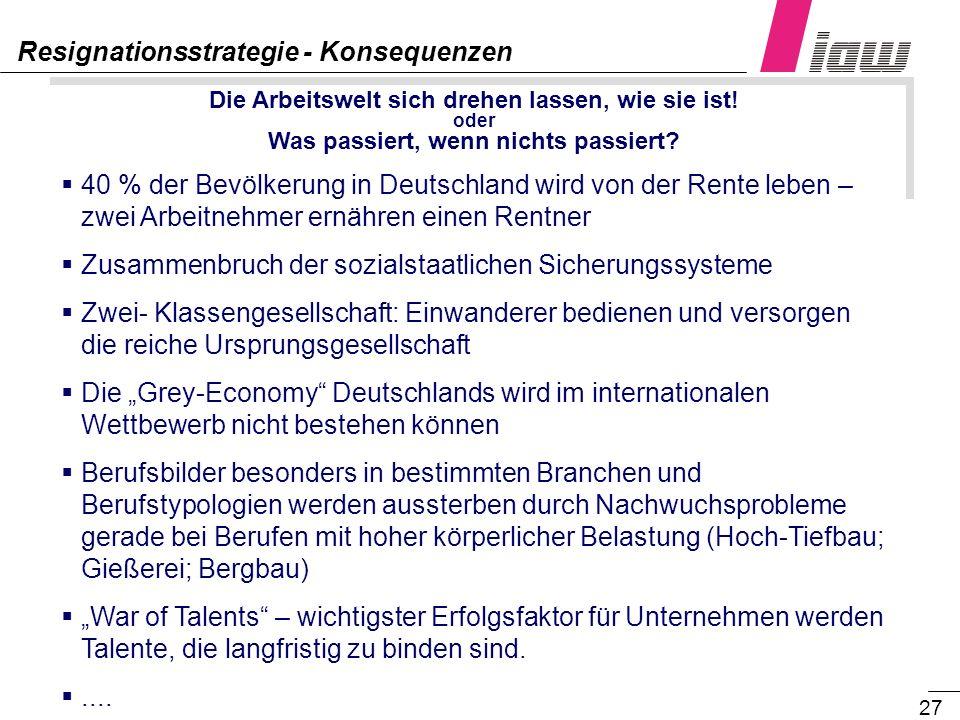 Resignationsstrategie - Konsequenzen