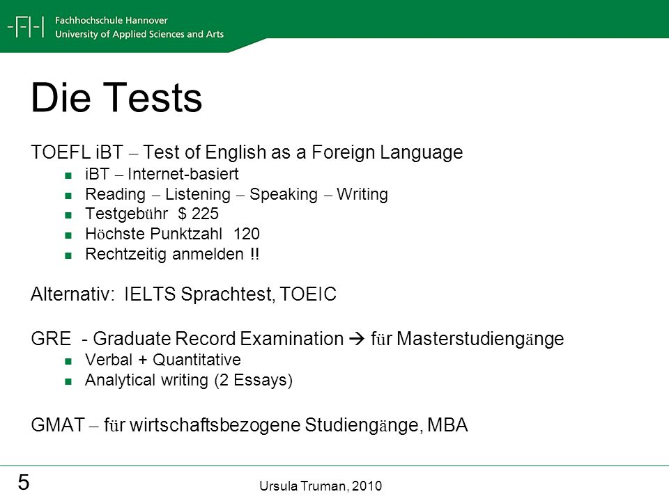 Die Tests TOEFL iBT – Test of English as a Foreign Language