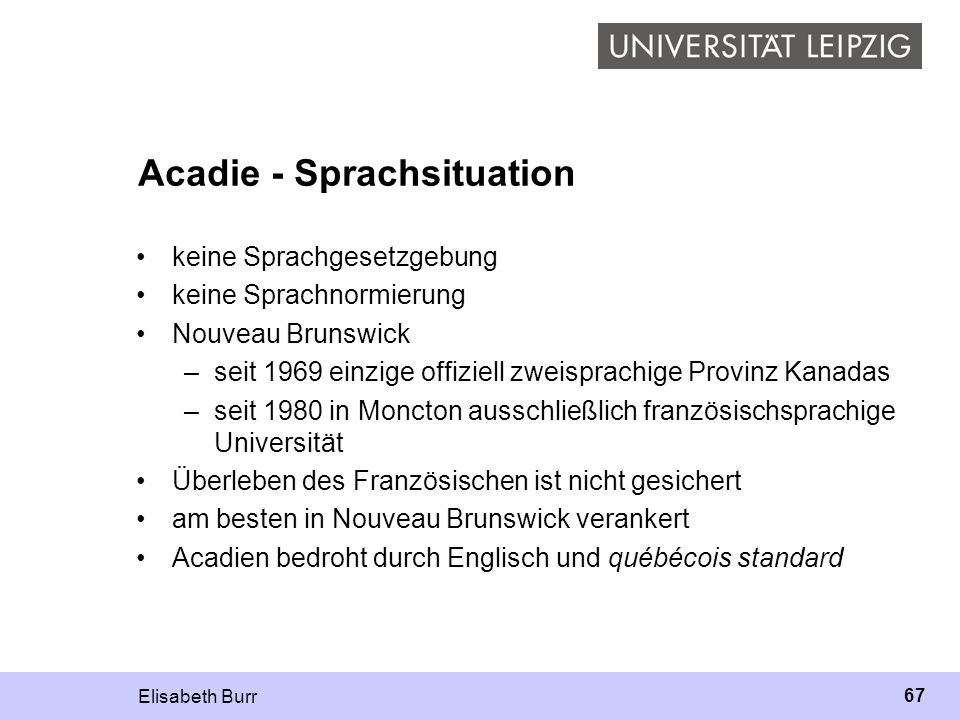 Acadie - Sprachsituation