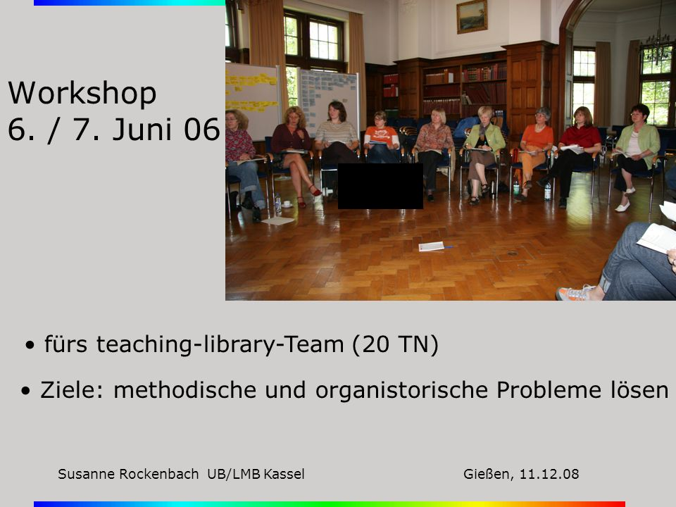 Workshop 6. / 7. Juni 06 fürs teaching-library-Team (20 TN)