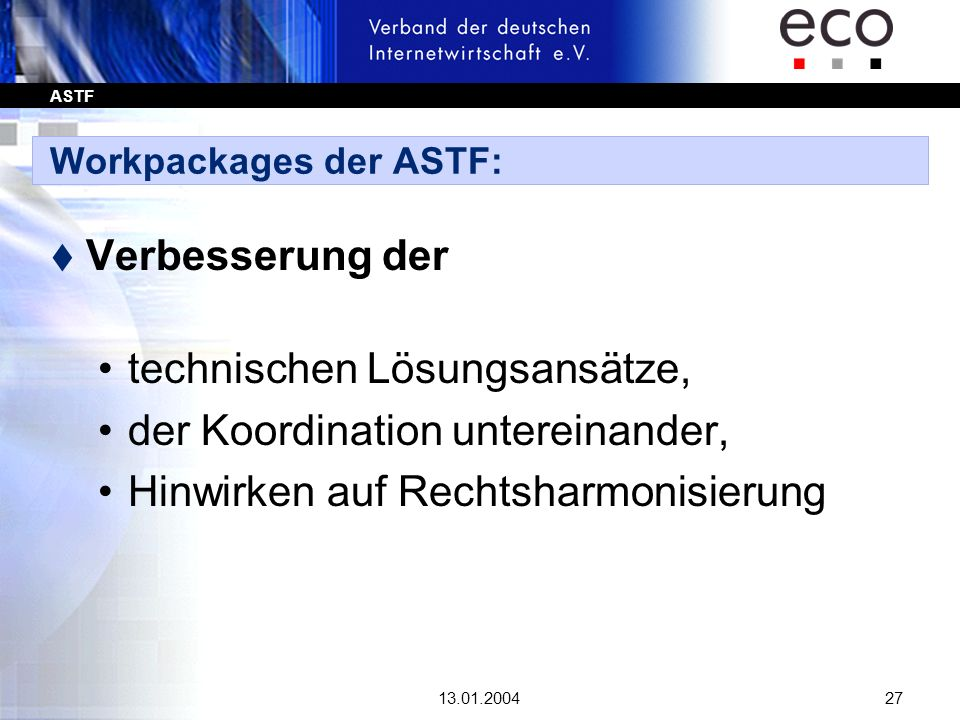Workpackages der ASTF: