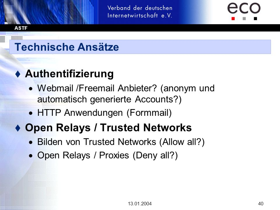 Open Relays / Trusted Networks