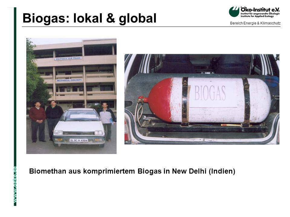 Biogas: lokal & global Biomethan aus komprimiertem Biogas in New Delhi (Indien)