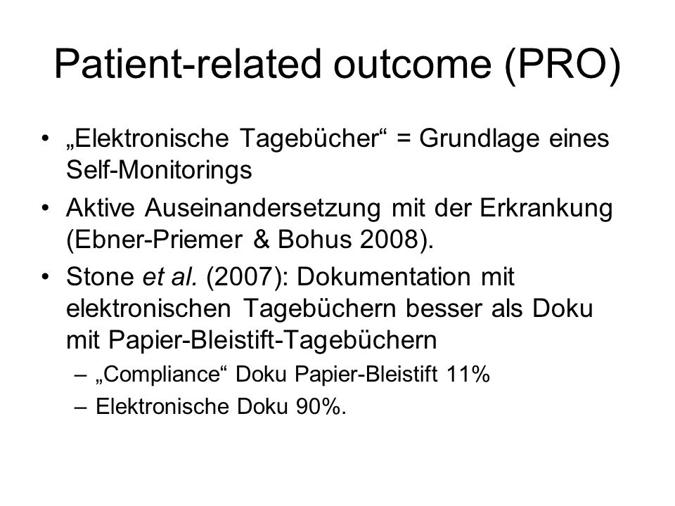 Patient-related outcome (PRO)