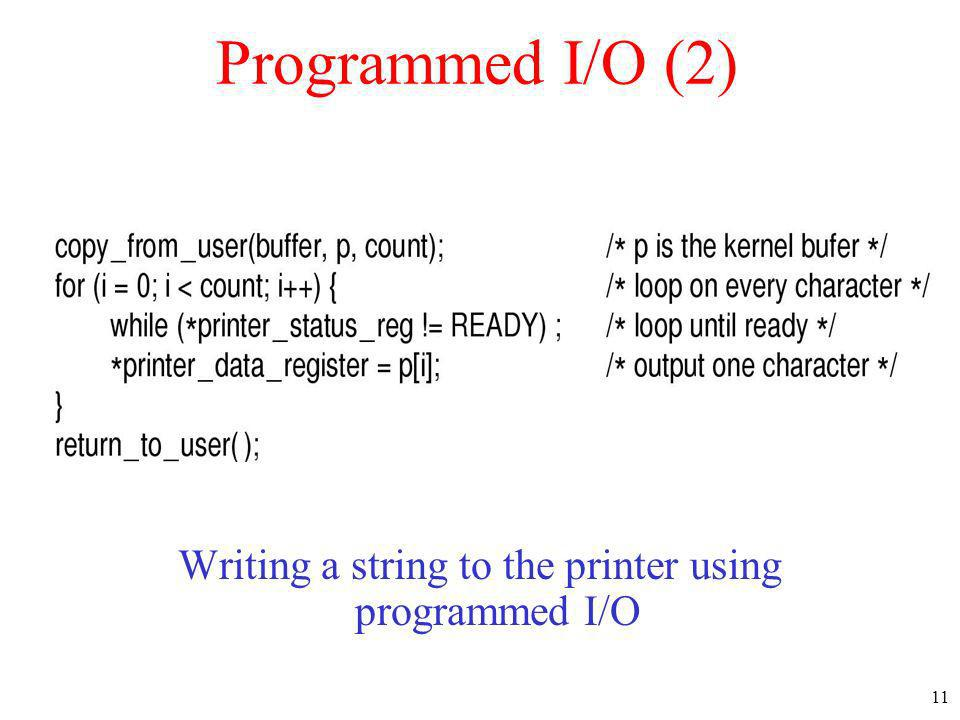 Writing a string to the printer using programmed I/O