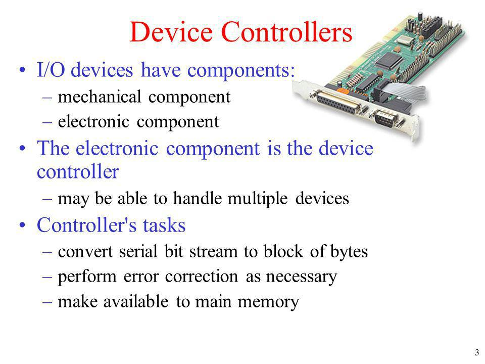 Device Controllers I/O devices have components: