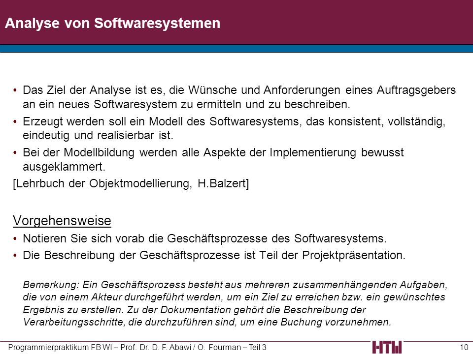Analyse von Softwaresystemen