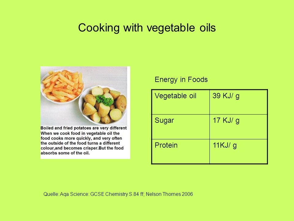 Cooking with vegetable oils