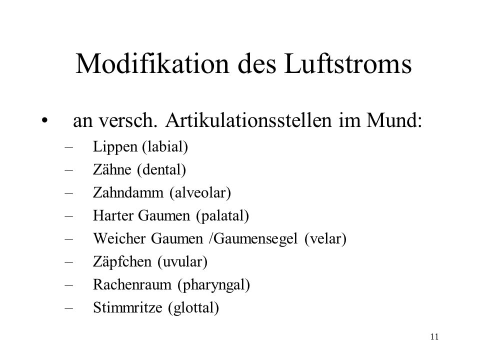 Modifikation des Luftstroms