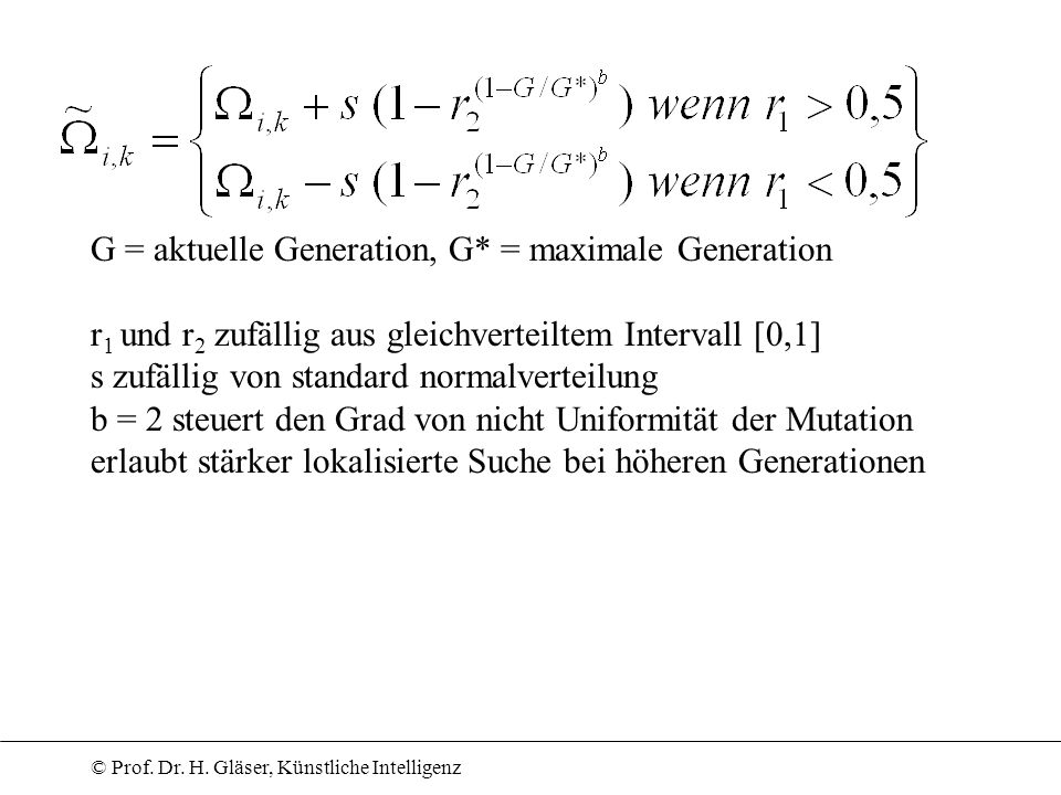 G = aktuelle Generation, G* = maximale Generation