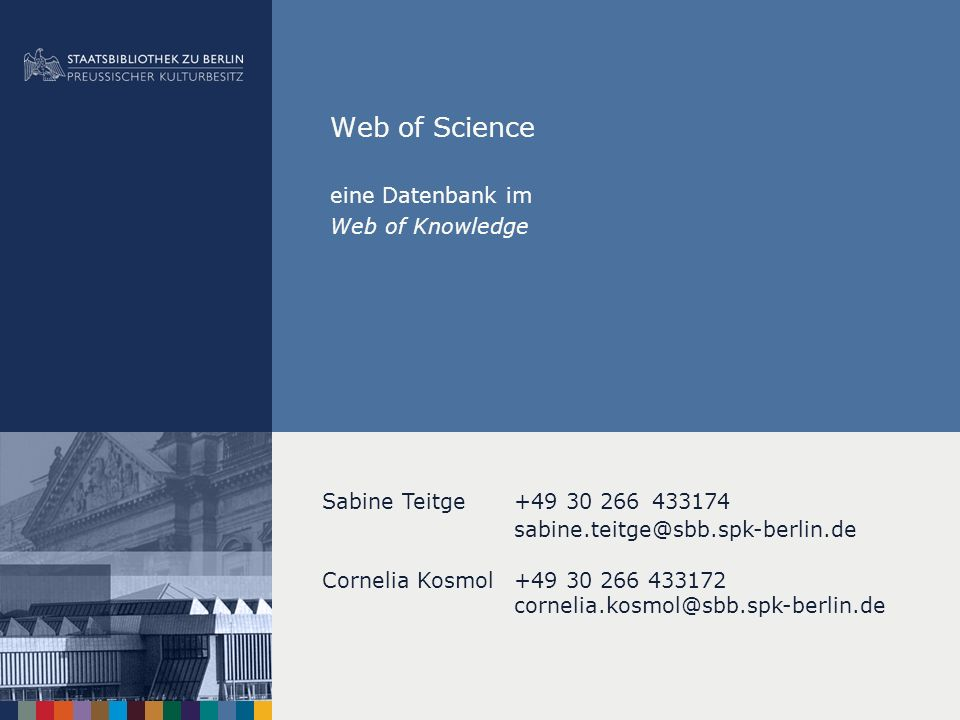 eine Datenbank im Web of Knowledge