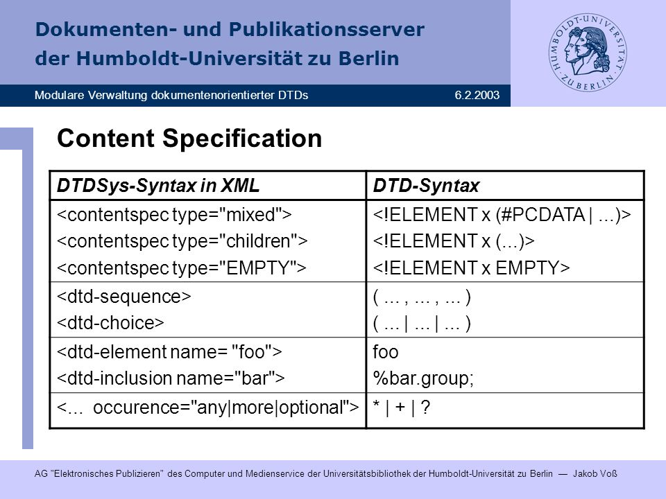 Content Specification