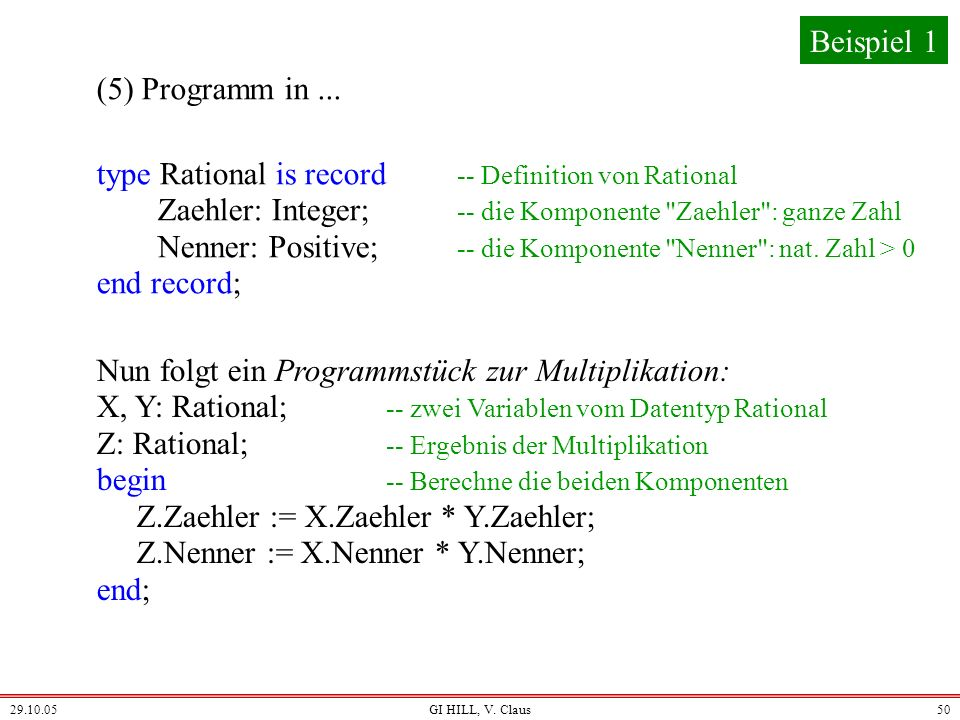 type Rational is record -- Definition von Rational