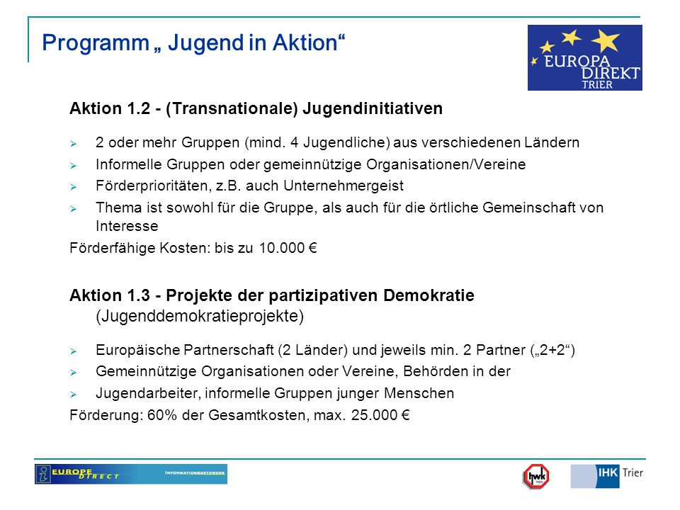 "Programm "" Jugend in Aktion"