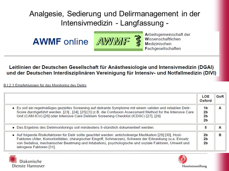 Analgesie, Sedierung und Delirmanagement in der Intensivmedizin - Langfassung -