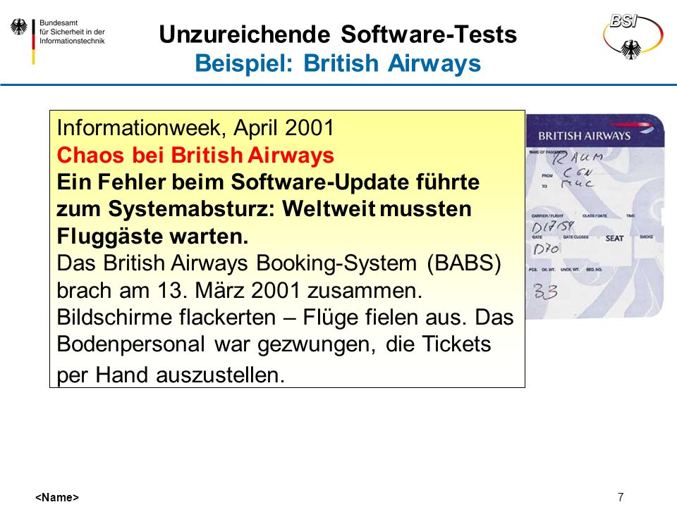 Unzureichende Software-Tests Beispiel: British Airways