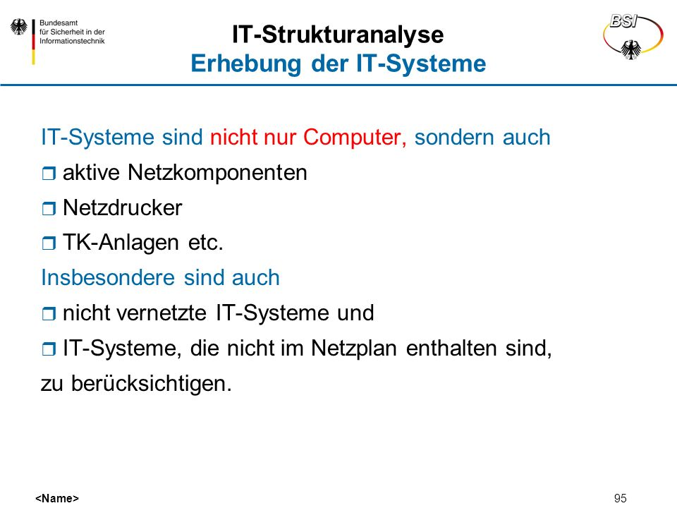 IT-Strukturanalyse Erhebung der IT-Systeme