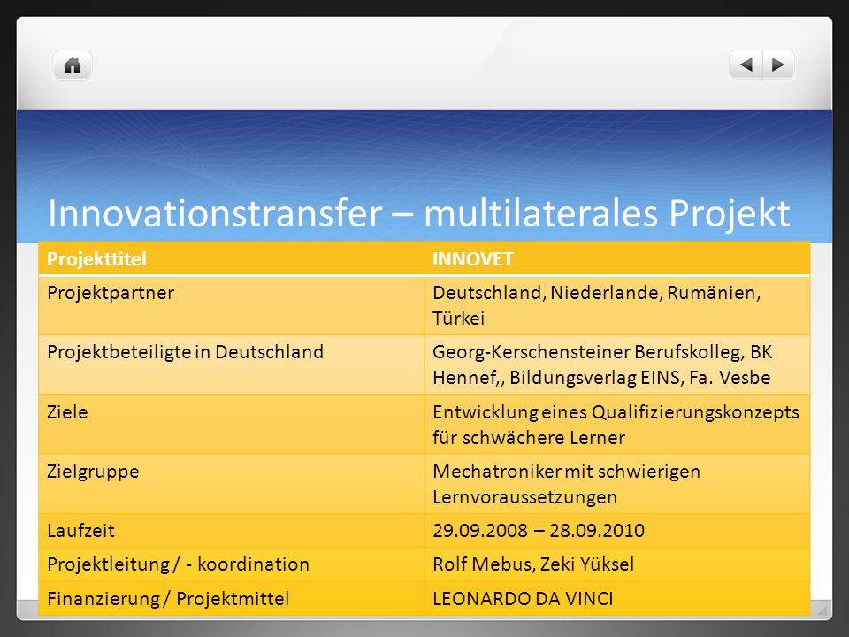 Innovationstransfer – multilaterales Projekt
