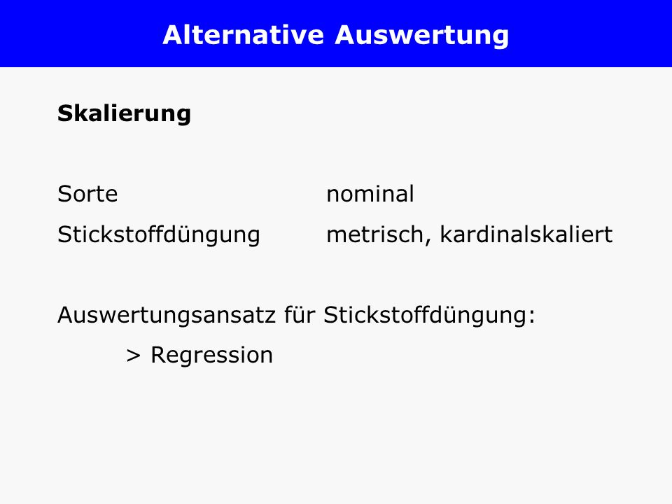 Alternative Auswertung