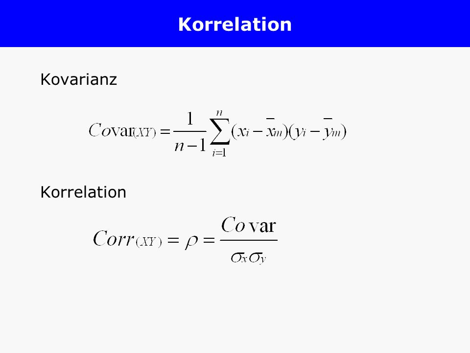 Korrelation Kovarianz Korrelation