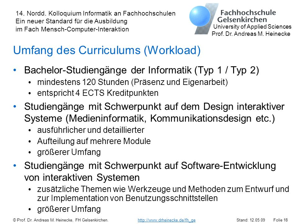 Umfang des Curriculums (Workload)