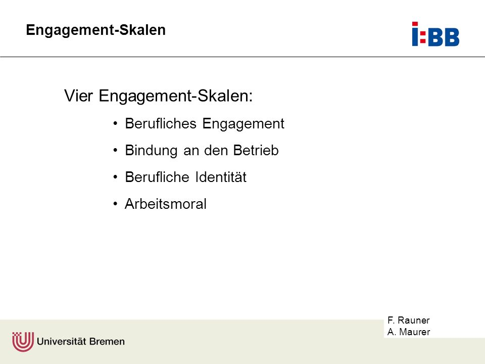 Vier Engagement-Skalen: