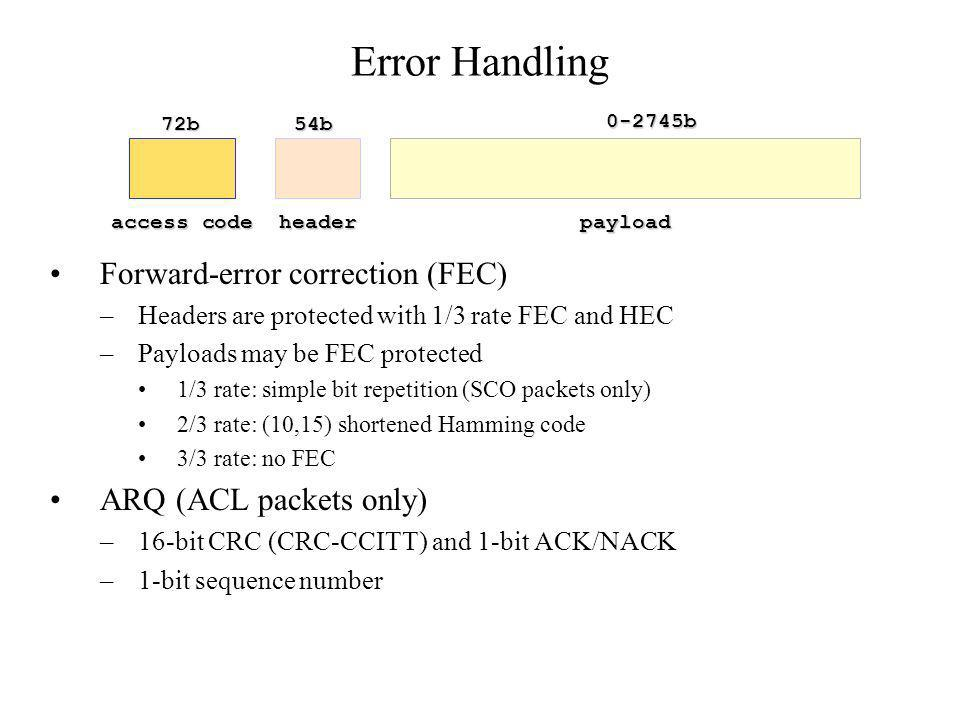 Error Handling Forward-error correction (FEC) ARQ (ACL packets only)