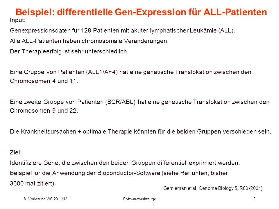Beispiel: differentielle Gen-Expression für ALL-Patienten