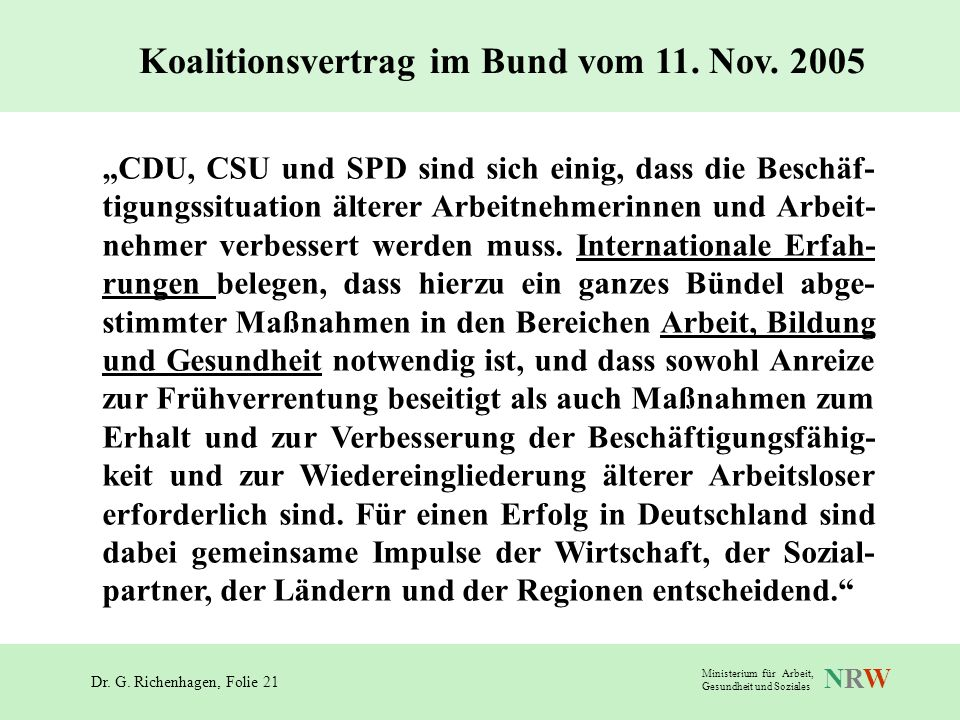 Koalitionsvertrag im Bund vom 11. Nov. 2005