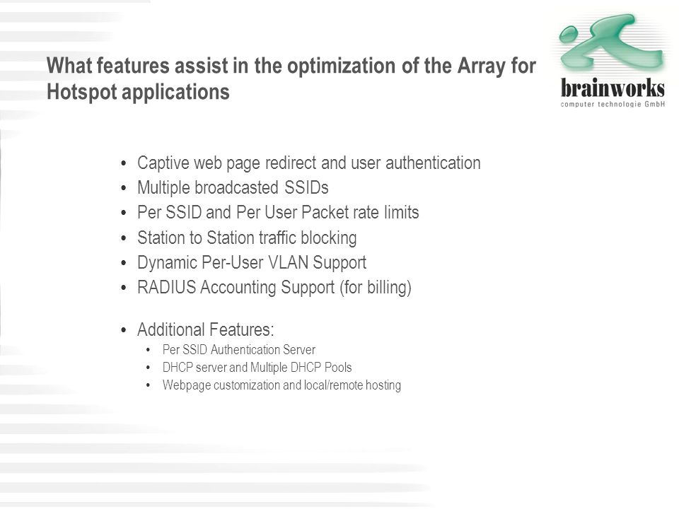 What features assist in the optimization of the Array for Hotspot applications