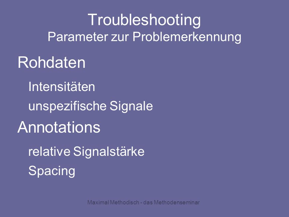 Troubleshooting Parameter zur Problemerkennung