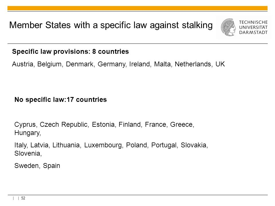 Member States with a specific law against stalking