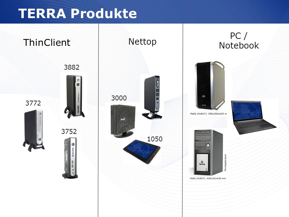 TERRA Produkte ThinClient PC / Notebook Nettop 3882 3000 3772 3752