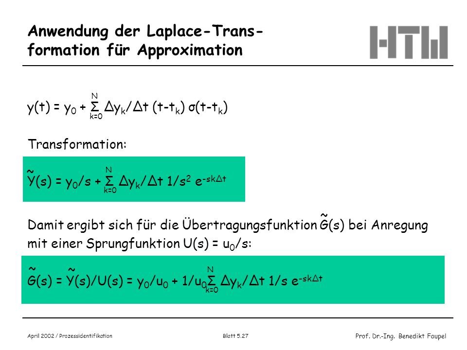 Anwendung der Laplace-Trans-formation für Approximation