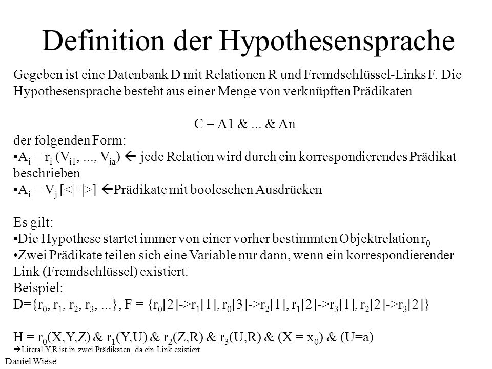 Definition der Hypothesensprache