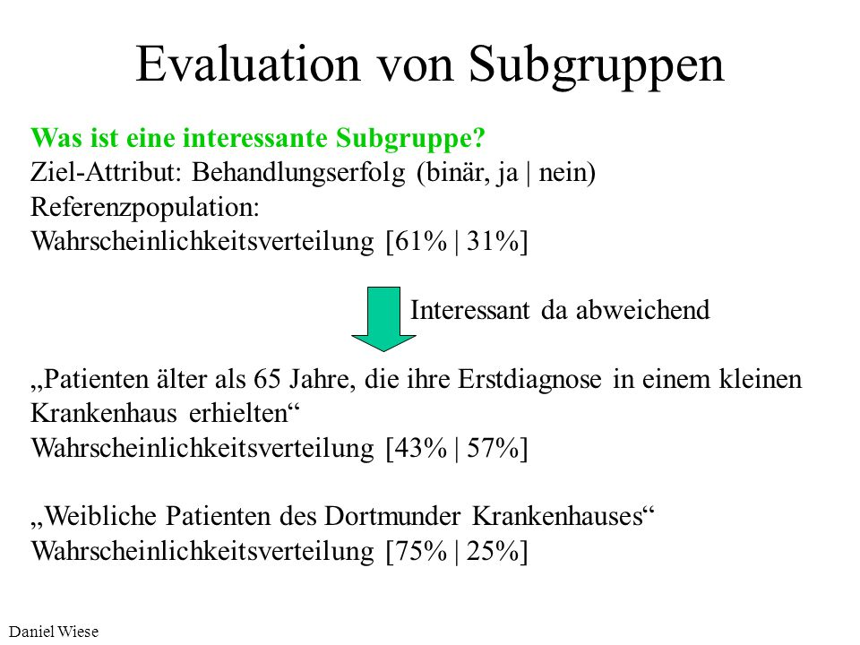 Evaluation von Subgruppen