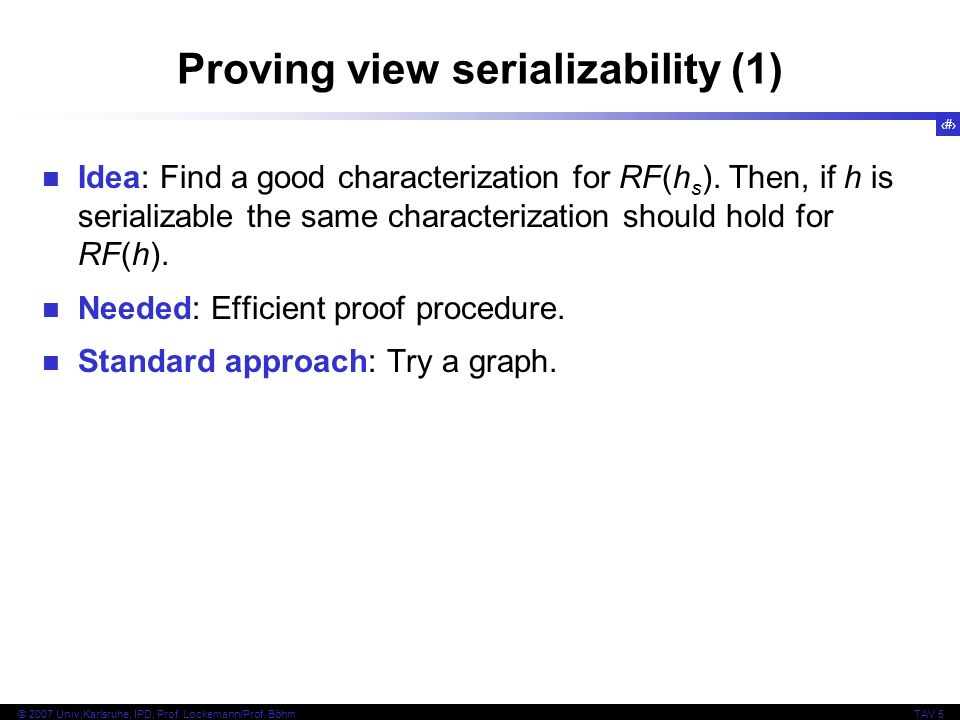 Proving view serializability (1)