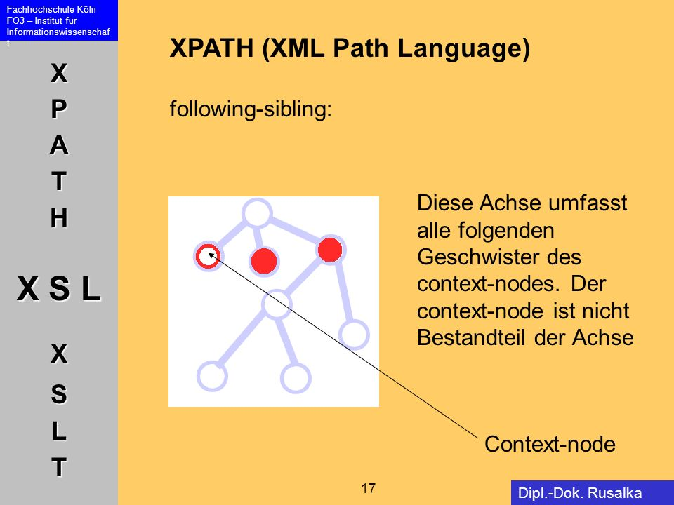 XPATH (XML Path Language) following-sibling: