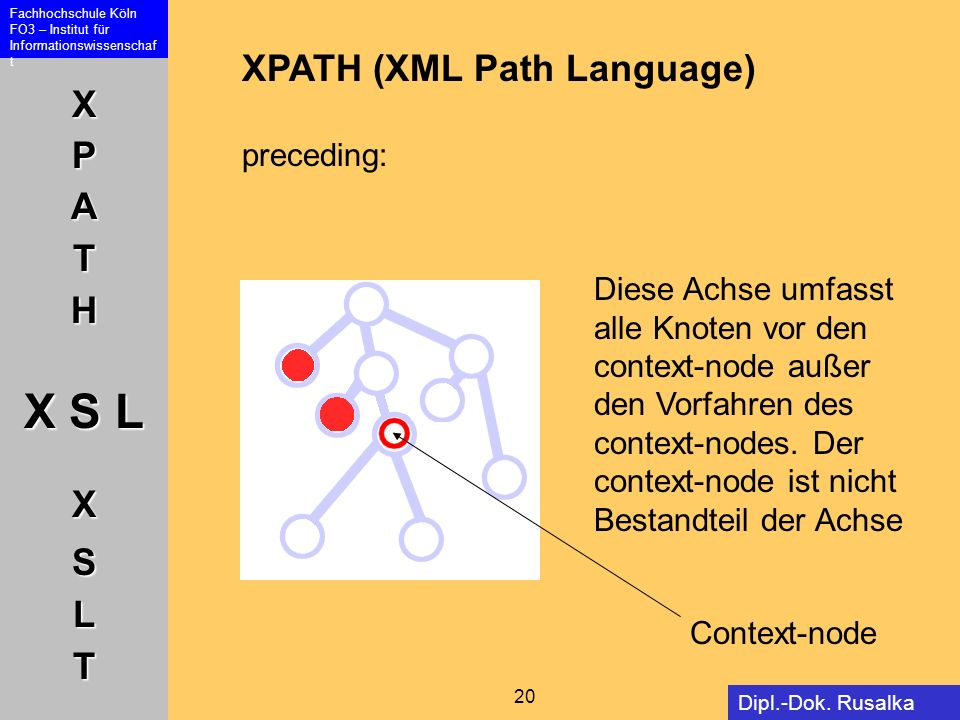 XPATH (XML Path Language) preceding: