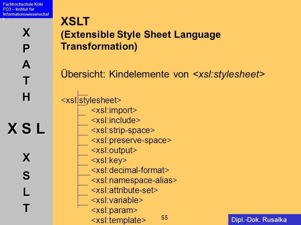 XSLT (Extensible Style Sheet Language Transformation) Übersicht: Kindelemente von <xsl:stylesheet>