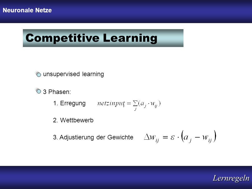 Competitive Learning Lernregeln Neuronale Netze unsupervised learning
