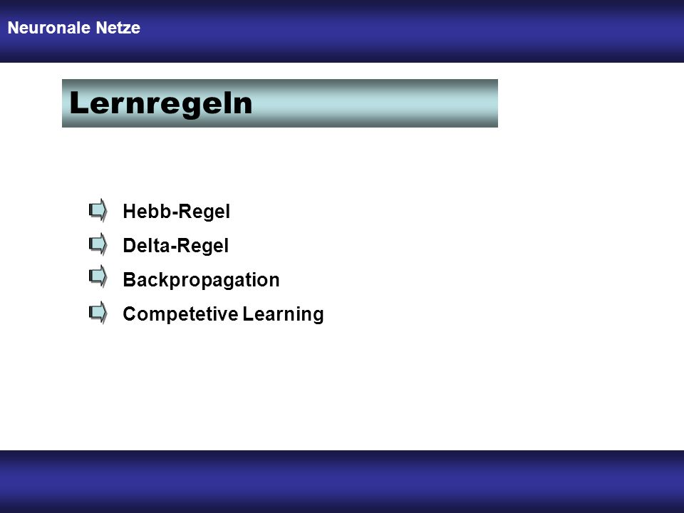 Lernregeln Hebb-Regel Delta-Regel Backpropagation Competetive Learning