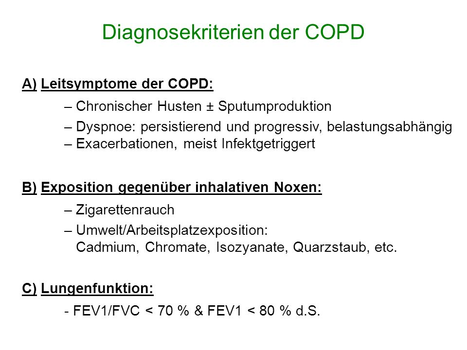 Diagnosekriterien der COPD