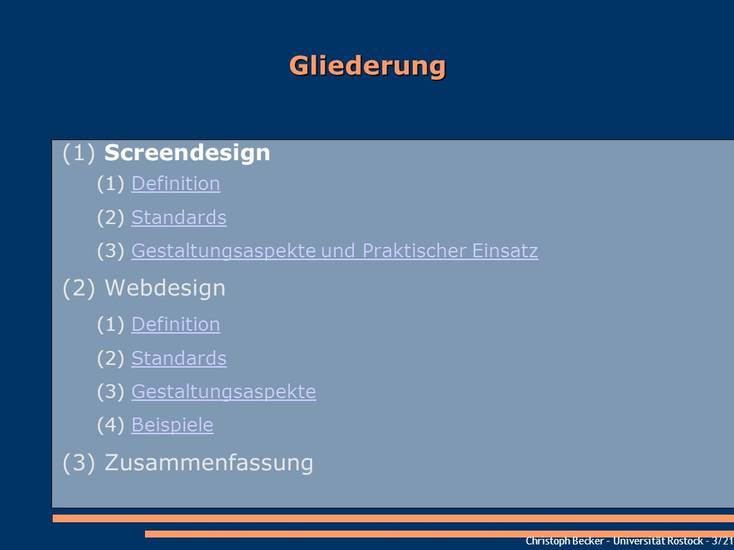 Gliederung Screendesign Webdesign Zusammenfassung Definition Standards