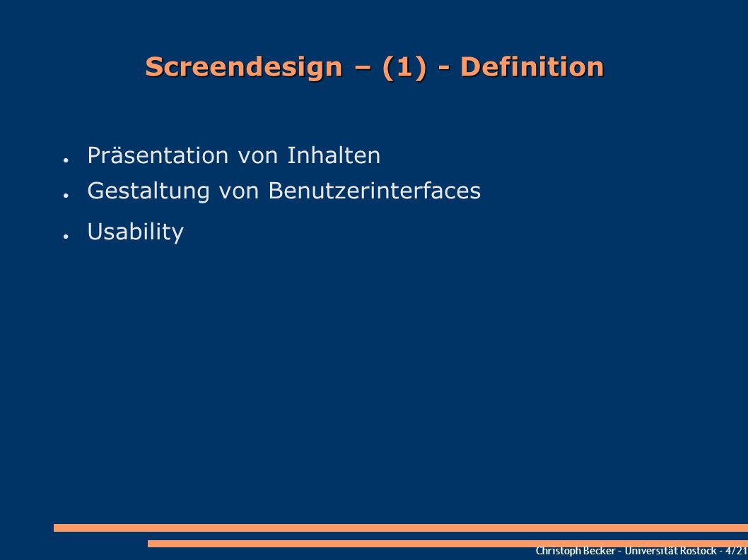 Screendesign – (1) - Definition