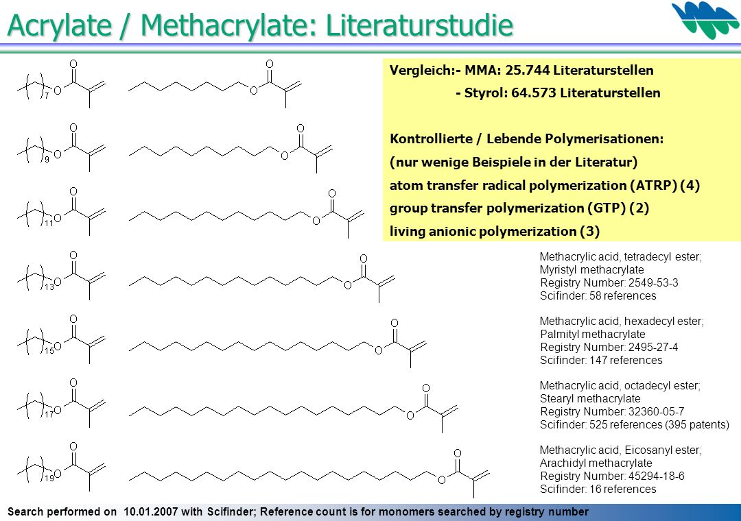 Acrylate / Methacrylate: Literaturstudie